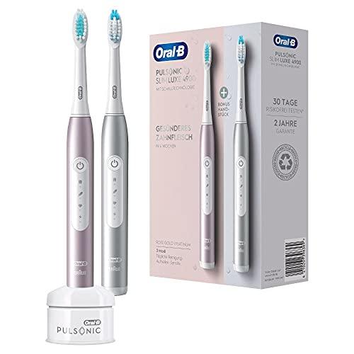 Oral-B Pulsonic Slim Luxe 4900 Doppelpack Elektrische Schallzahnbürste für gesünderes Zahnfleisch in 4 Wochen, 3 Putzprogramme inkl. Sensitiv, Timer, 2 Aufsteckbürsten, platin/rosegold