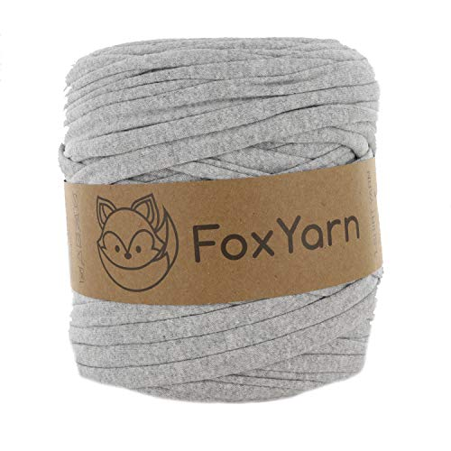 T-Shirt Yarn Cotton Fettuccini Zpagetti - Sewing Knitting Crochet T Shirt Yarn - 100 Meter - (Light Grey)