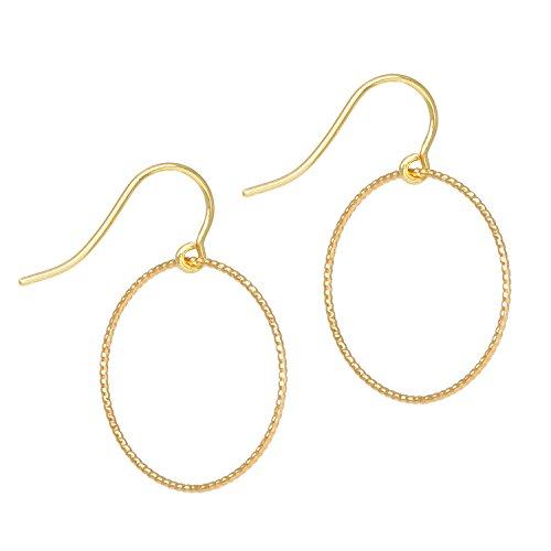 Tom Shot Ohrringe Ohrhänger Damen Gold Ring | Dünne Mittelgroße Gedrehte Ringe | Femininer und Sehr Zarter Schmuck | Messing Vergoldet - 21or0315g