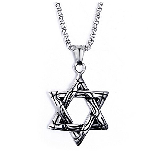 gudeke Herren Damen Edelstahl ausgehöhlten Hexagramm 6Zack-Jüdischer Stern von David Anhänger Halskette, 49,8cm
