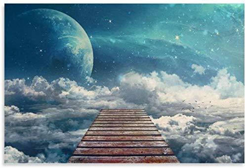 HuGuan Lienzo Pintura Al Óleo La Escalera del Cielo Y El Cuadro Decoración Familiar Moderna 23.6'X35.4'(60X90Cm) Poster Y Estampados Arte Cuadros Sin Marco