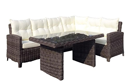 Baidani Garten Lounge Garnitur Rundrattan, Magic Select, ecru, 230 x 172 x 86 cm, 13a00004.00001