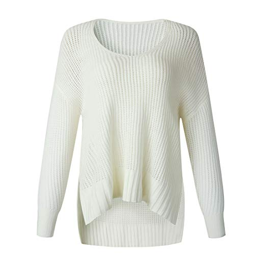 Women Knit Sweater Crewneck Long Sleeve Cozy Jumper Loose Casual Knitwear Elegant Solid Color All-Match Pullover Knitwear Lightweight Soft Jumpers Top S