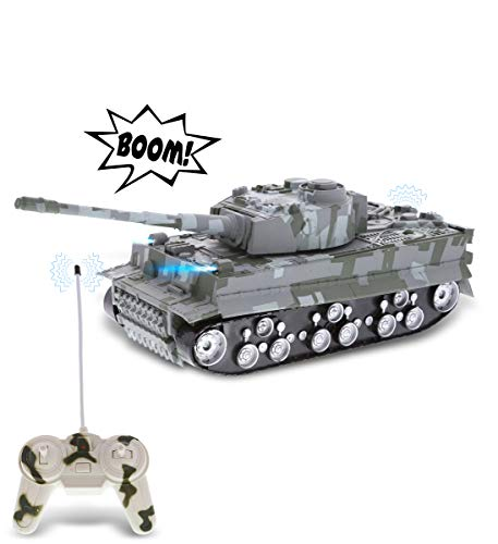 Mozlly Remote Control Tank with Lights & Sound Effects - Military RC Car Toy with Rotating Turret and Battle Sounds, Cool Kids Gift of Realistic RC Tank for Indoor & Outdoor Pretend Play - Colors Vary