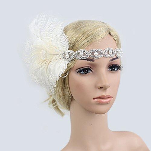 Tukistore Femmes Vintage des années 1920 Flapper Bandeau des années 20 Grand Gatsby Headpiece Bridal Plume Bandeau Boho Plume Plume Bandeau Hippie Tassel Headpiece (Blanc)