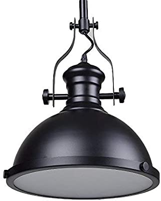 A Touch of Design Pendant Hanging Light Fixture - Modern Industrial Ceiling Light with Matte Black Dome Pendant