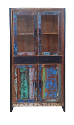 SIT-Möbel Bali 3504-98 Vitrine mit 2 Holztüren, 2 Glastüren, 2 Schubladen, Mangoholz, bunt lackiert, 86 x 35 x 175 cm