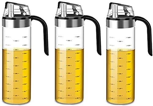 BERTY·PUYI Aceitera 550 Ml - Dosificador De Aceite De Oliva - Botella De Vinagre - Apertura Y Cierre Automático De La Botella De Aceite - Dosificador De Vinagre-3 Piece.
