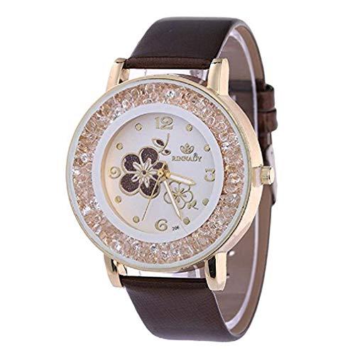 ¡Promoción Relojes de Cuarzo para Mujer, señoras, Chicas Adolescentes, Moda Minimalista, Reloj de Pulsera analógico Casual. (Marrón)