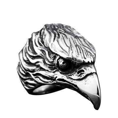 リング 指輪 メンズ ステンレス イーグルヘッドリング 鷲 鳥 316Lサージカルステンレス シルバー 20号(UKサイズ10)