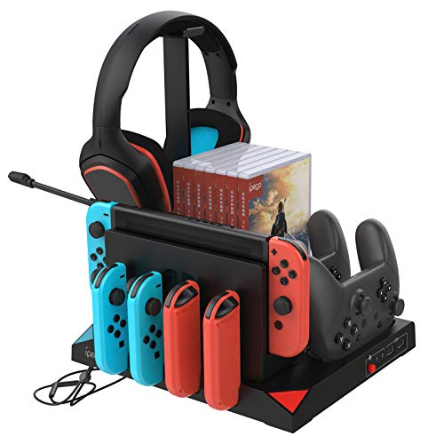 FYOUNG Vertical Charging Stand Storage Tower Compatible for Nintendo Switch Joy Cons, Pro Controllers with Cooling Fans Compatible for Nintendo Switch and Gaming Headset Stand