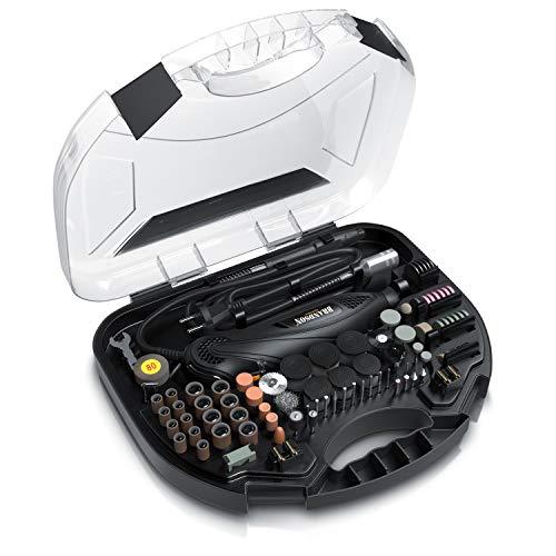 Brandson - Multifunktionswerkzeug 130W mit 202-teiligem Zubehör – Werkzeugkoffer – schneiden schleifen polieren gravieren bohren – Rotationswerkzeug Feinbohrschleifer - kompatibel mit Dremel Zubehör