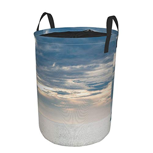 Collapsible Laundry Dirty Clothes HamperNauticalSailing Yacht In The Morning Time On Tranquil Seascape Cloudy Sky Peaceful MarineLarge with Drawstring Storage Bin for Family Waterproof14 x 19in