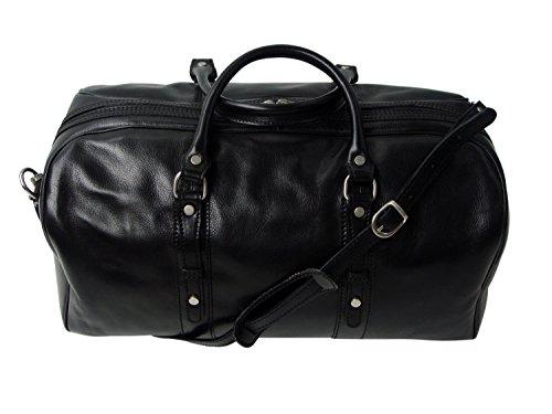Rivello Genuine Leather Holdall Bag - Detachable Shoulder Strap - Black - Carry On