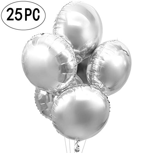 Silver Wedding Party Round Foil Mylar Balloons Helium Metallic Balloons Baby Shower Bridal Shower Engagement Birthday Party Favors Balloons Decorations, 25pc