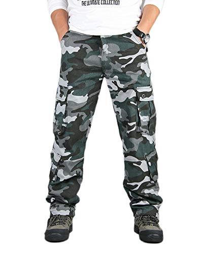 YOUCAI Pantalones Cargo de Ajuste Recto para Hombre, Pantalones Tácticos Militares Pantalón de Camuflaje Multibolsillos para Exteriores Acampar Senderismo Caminar,Azul,44W