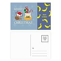 クリスマスギフトクリスマスフェスティバルのヘラジカ バナナのポストカードセットサンクスカード郵送側20個