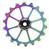 TUCKE Bicicleta de cerámica polea 18 T gradiente color CNC AL-7050 bicicleta rodamiento rueda de guía de cadena trasera para shimano sram MTB Road accesorios