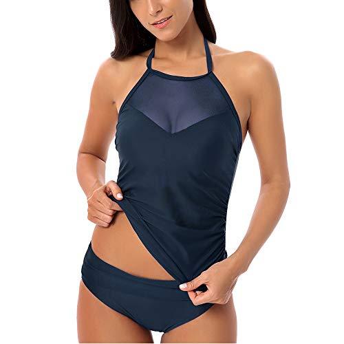 DYecHenG Badeanzug für Frauen Frauen-Neckholder-Badeanzug Zweiteiler Off Swimwear Bikini zum Surfen Schwimmen (Color : Blue, Size : L)