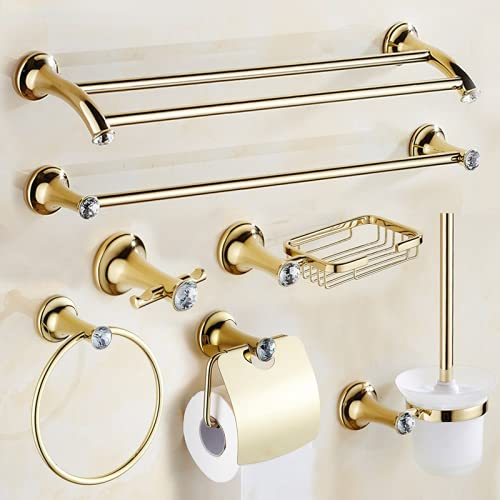 Juego de Accesorios de baño Chapado en Oro de Acero Inoxidable, Soporte para Toallas, Soporte para Papel higiénico, Gancho para Barra de Toallas, Juego de Accesorios de baño