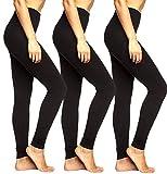 ONLY Damen Live Love 3er Pack Leggings Mädchen Leggins Baumwolle Schwarz Blickdicht Schwarz Sport Yoga (3er Schwarz, XXL)