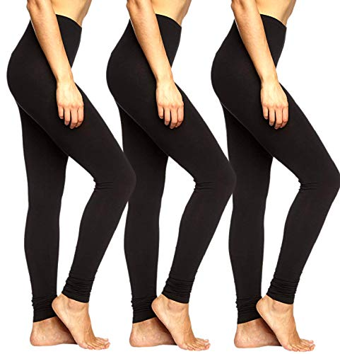 ONLY Damen Live Love 3er Pack Leggings Mädchen Leggins Baumwolle Schwarz Blickdicht Schwarz Sport Yoga (3er Schwarz, L)