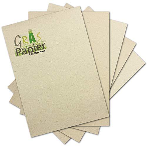 50x ÖKO Briefpapier aus Graspapier DIN A4 - Recycling Papier 160 g/m² - Umwelt Bastelpapier für Einladungen oder Menükarte - Glüxx Agent