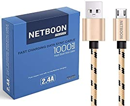 NETBOON Nylon Cotton Braided 2.4A Fast Charging Data Transfer Micro USB Cable Tangle Free Chord 1Meter - Gold