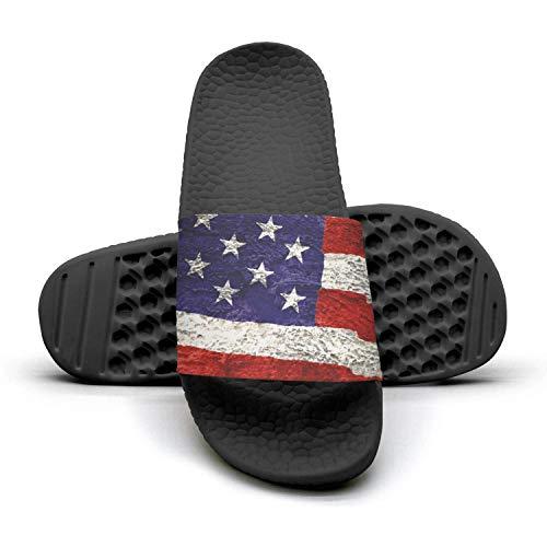 Women Best Slipper American Flag Painted Grunge Black Memory Foam Open Toe Flat Outdoor Sandal