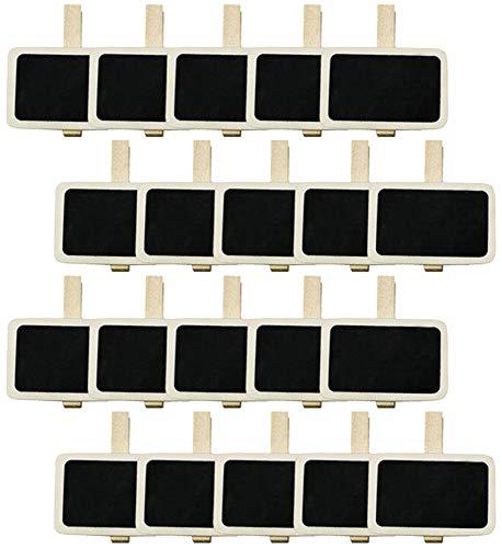 COM-FOUR® panneaux d'herbes 20x pour écrire avec de la craie - ardoise pour écrire sur des pots de fleurs et des plantes - panneaux de plantes avec clip - étiquette de plante (Version 1-20 pièces)