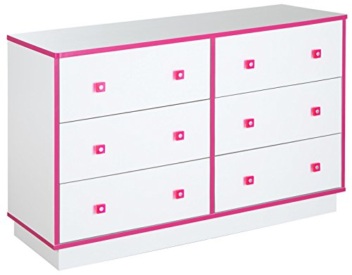 South Shore Logik 6-Drawer Double Dresser, Pure White And Pink, Pure White/Pink