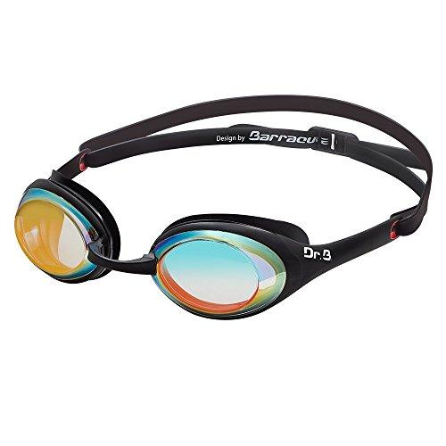 Dr.B Barracuda Gafas de Natación Goggles DRB941 Lentes de Espejo Miopía Óptico Graduado Juntas de Patente Antiniebla Protección UV Anti-Fugas Anti-Rotura Carrera Adulto Hombre y Mujer #94190 (-3.5) ⭐