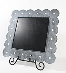12-1 4 x 12-1 4 Weathered Square Metal Chalkboards with Scalloped Cut Edging - Wedding Chalkboard Rustic Signs