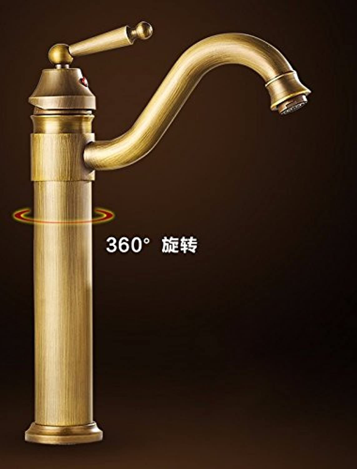 Hlluya Professional Sink Mixer Tap Kitchen Faucet The copper, antique sepia, hot and cold, washbasin, bidet, on a cold and can be redated, single handle single hole sink faucet,F
