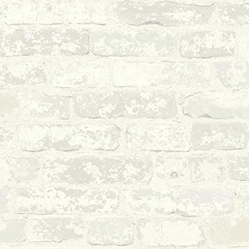 RoomMates RMK9038WP White Stuccoed Brick Peel and Stick Wallpaper
