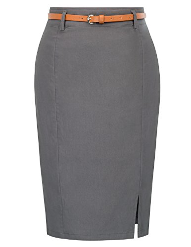 Kate Kasin Women's Slit Pencil Skirt Solid Color Wear to Work Size S Dark Grey KK856-2