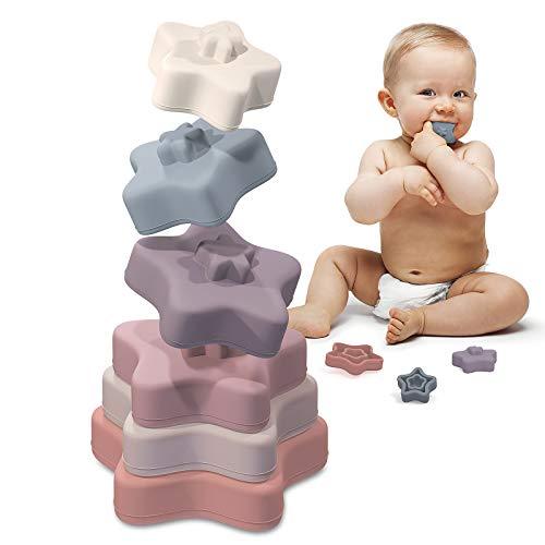TYRY.HU Bloques Apilables para Bebés 6 Meses,Juguetes Bebe para Masticar la Dentición Juguetes Educativos paral Bebé Juegue 0-3 años(Comienzo) (Bloques de Apilamiento-Comienzo)