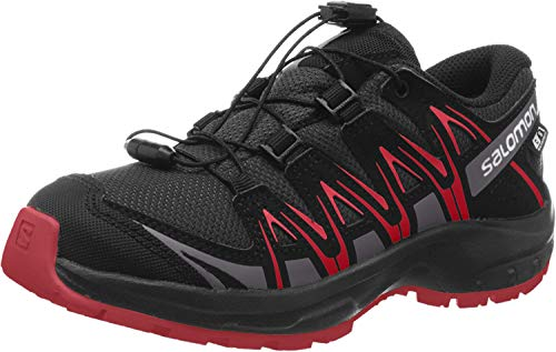 SALOMON XA PRO 3D CSWP J, Scarpe da Trail Running Unisex-Adulto, Nero/Rosso (Black/Black/High Risk Red), 38 EU