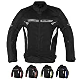 ALPHA CYCLE GEAR BREATHABLE BIKERS RIDING PROTECTION MOTORCYCLE JACKET MESH CE ARMORED (BLACK WIND, XXX-LARGE)