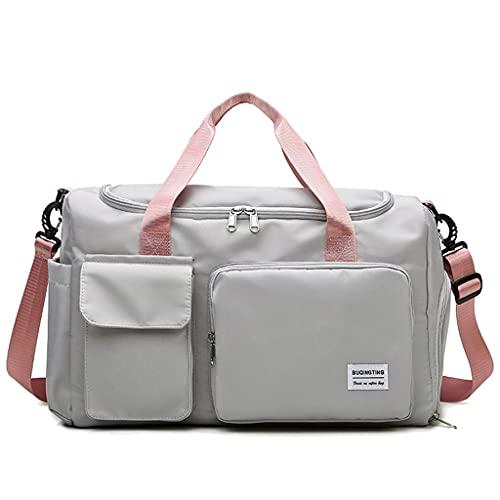 zhichy Bolsa de deporte con compartimento para zapatos y bolsillo mojado, bolsa de viaje de gran capacidad con correa de hombro para gimnasio, deportes, viajes, natación