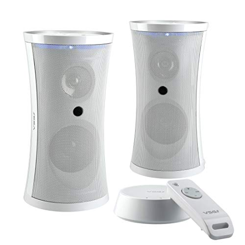 VSG SP-4780 Design Funk Lautsprecher Set mit Fernbedienung – Kabelloser, tragbarer Audio Speaker, Reichweite bis 100 Meter, Plug&Play, IPX3 - Weiß