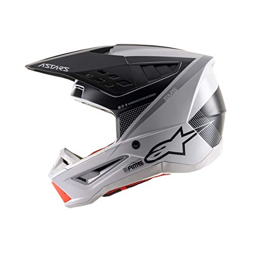 Alpinestars SM5 Rayon Helmet-Light Gray/Black/Silver-L