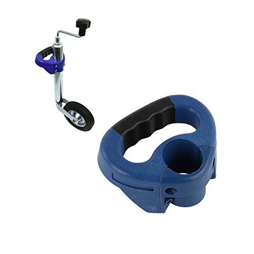 PP Poignée de manœuvre pour roues stabilisatrices de 48 mm de diamètre - Bleu - Poignée caoutchoutée - Pour caravane et remorque