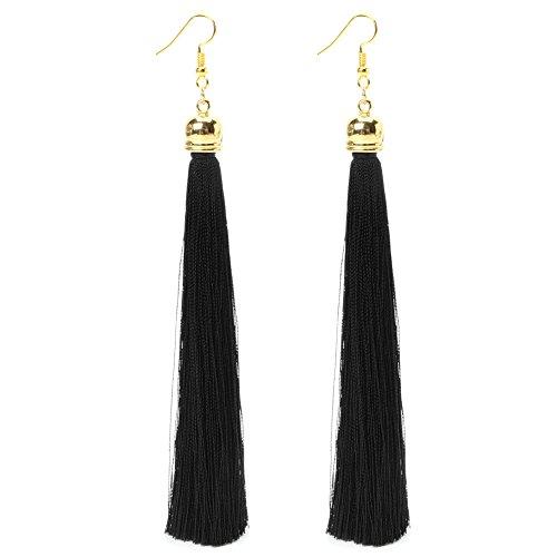 CAREMiLLE 1 par de Pendientes Largos Vintage, Pendientes Colgantes para Mujer, Kits de Pendientes para Adultos, Color Negro