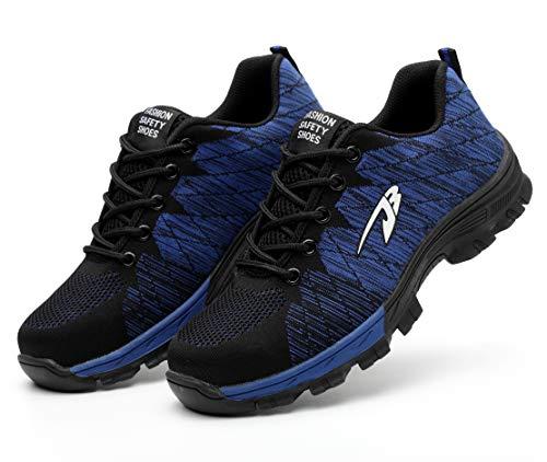 [Junshide] 安全靴 メンズ 作業靴 レディース つま先 足裏保護 登山靴 防滑 通気性 耐摩耗 耐油性 クッション性 鋼製先芯 セーフティーシューズ スニーカーのように履き心地 ブルー 25.0cm