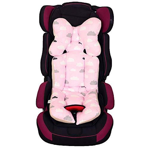 Lelestar materassino Universale di sedia passeggio, cuscino riduttore Cotone di sedile per seggiolino per auto, carrello, Ovetto protezione da Corpo per auto 35cmx80cm (Nube rosa)