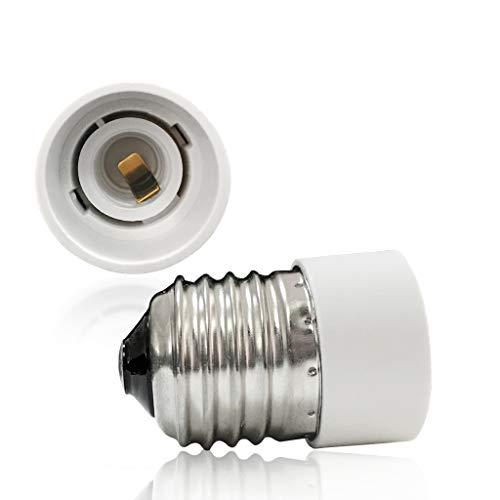 VARICART Base Transformador de Lámpara E27 a E14, Adaptador de Casquillo de Bombilla, Máxima Potencia de Vatios 500W Enchufe Resistente al Calor, No Inflamable Hasta 220 Grados (Pack de 2)