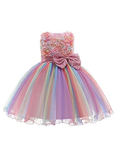 DELIMALI Vestido de princesa para niñas, vestido completo de una sola pieza sin tirantes sin mangas con lazo, flor para niños pequeños, rosa, 3-4 Años