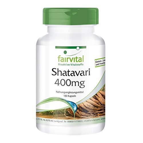 Shatavari Cápsulas 400mg - VEGANO - Dosis elevada - 180 Cápsulas - Asparagus racemosus - Calidad Alemana