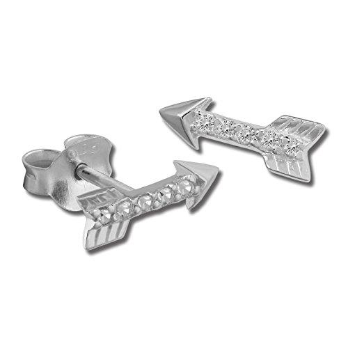 Sueño de plata pendientes flecha con circonita blanca - Pendientes de mujer de{925} plata de ley - SDO8031W